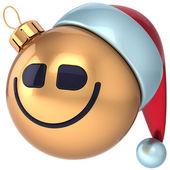 karácsonyi bál mosoly, mosolygó csecsebecse santa kalap smiley arc ikon dekoráció arany boldog új évet