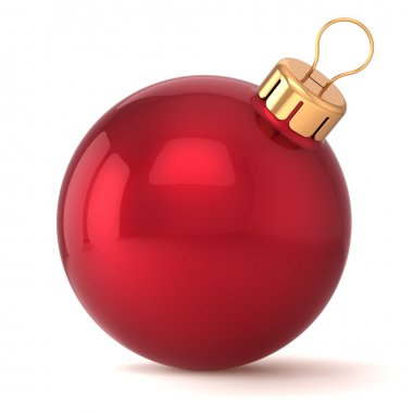 Christmas ball New Years Eve bauble decoration red wintertime ornament icon traditional