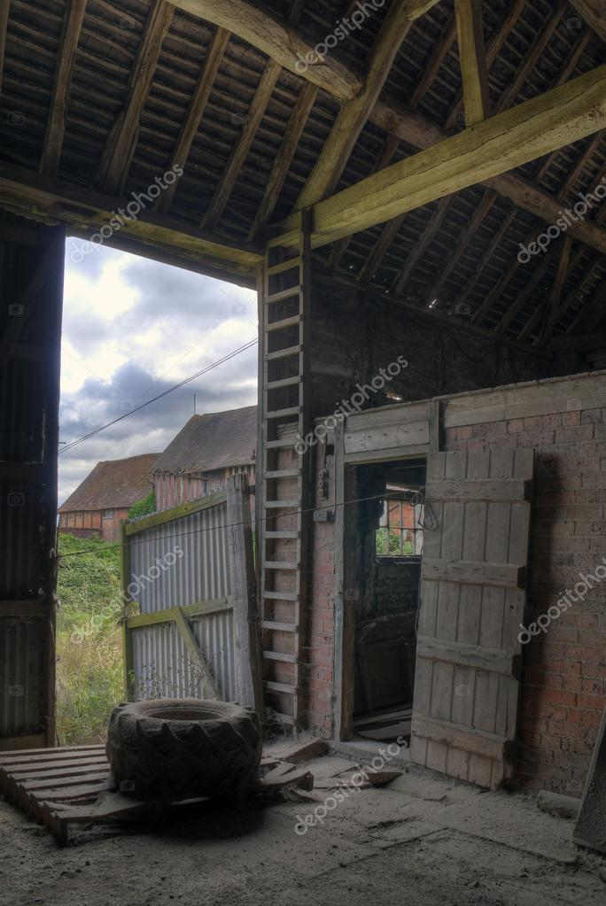 English Hay Barn Interior Stock Photo