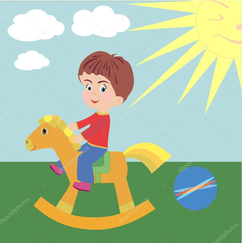 A boy on horseback. vector