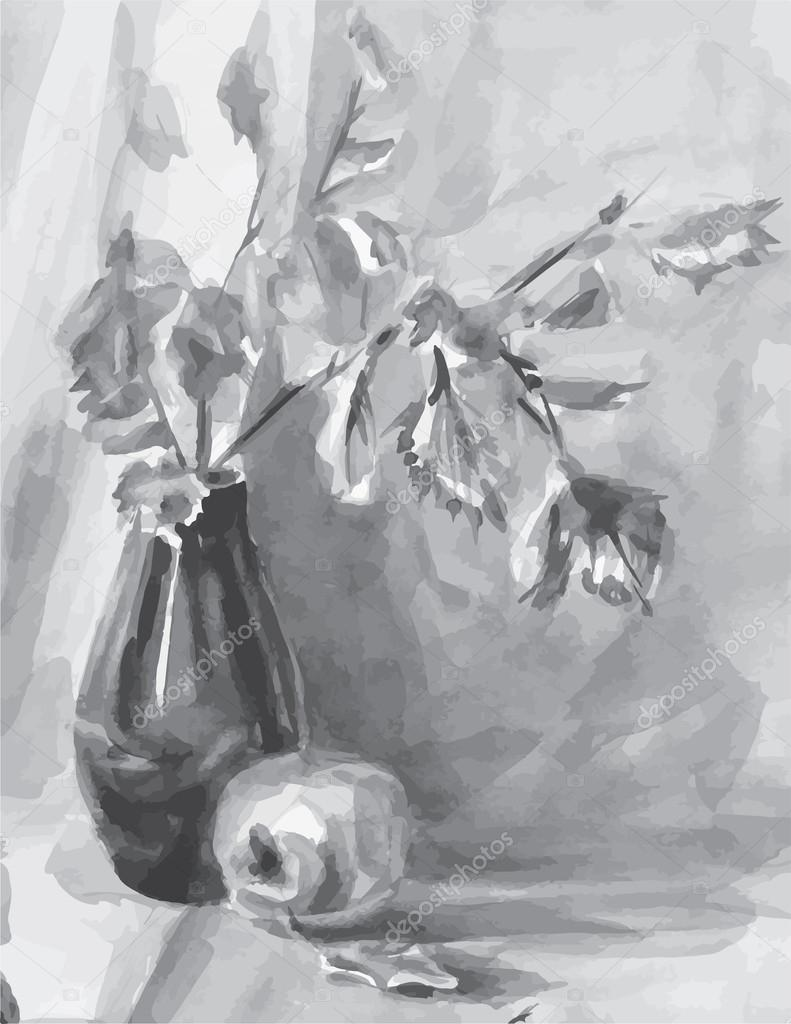 Vector black and white image of still life