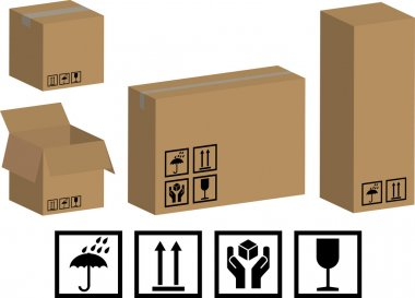 Vector packaging boxes and icons