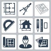 Vector design ikonok beállítása épület: elrendezés, pár a Körzők, szögmérő, ceruza, vonalzó, Radír, blueprint, tervező, rajztábla