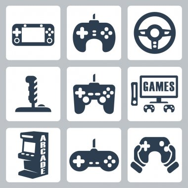 Vector video games icons set stock vector
