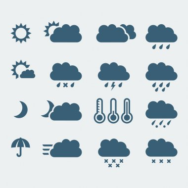 Vector isolated weather icons set clip art vector