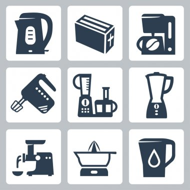 Vector kitchen appliances icons set