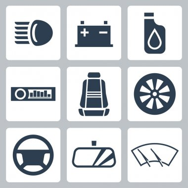 Vector auto parts icons set