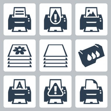 Vector print, printer icons set