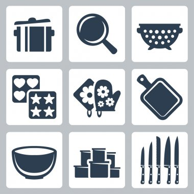 Vector isolated kitchenware icons set: pot, frying pan, colander, baking mould, potholder, cutting board, bowl, containers, knives
