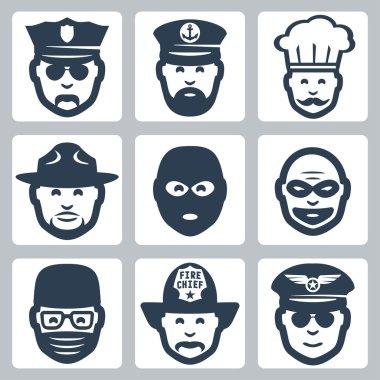 Vector profession icons set: police officer, captain, chef, ranger, anti-terrorist, robber, surgeon, fireman, pilot