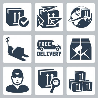 Vector delivery icons set: box, paperplanes, globe, pallet jack, van, parcel, courier, tracking, warehouse