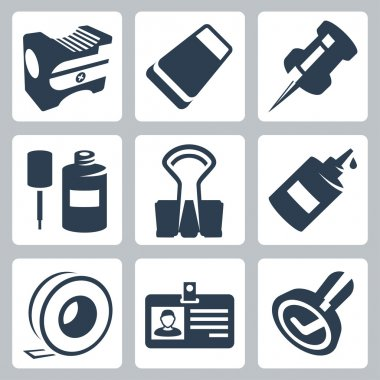 Vector office stationery icons set: pencil sharpener, eraser, push pin, correction fluid, clip, glue, sticky tape, identity tag, stamp