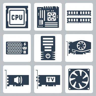 Vector hardware icons set: CPU, motherboard, RAM, power unit, computer case, video card, sound card, TV-tuner, cooler