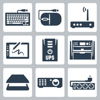 Vector hardware icons set: keyboard, computer mouse, modem, graphics tablet, UPS, multifunction device, scanner, projector, surge filter