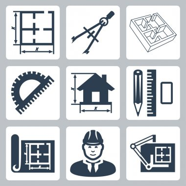 Vector building design icons set: layout, pair of compasses, protractor, pencil, ruler, eraser, blueprint, designer, drawing board