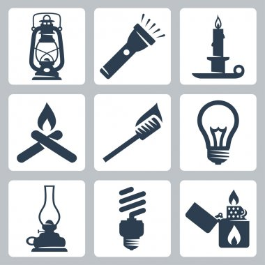 Vector light and lighting appliances icons set: lantern, flashlight, candle, bonfire, torch, bulb, hurricane lamp, energy saving bulb, lighter