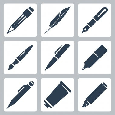 Vector writing and painting tools icons set: pencil, feather, fountain pen, brush, pen, marker, mechanical pencil, tube of paint