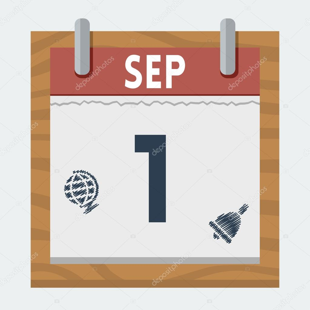 Vector calendar icon for 1 september in flat style