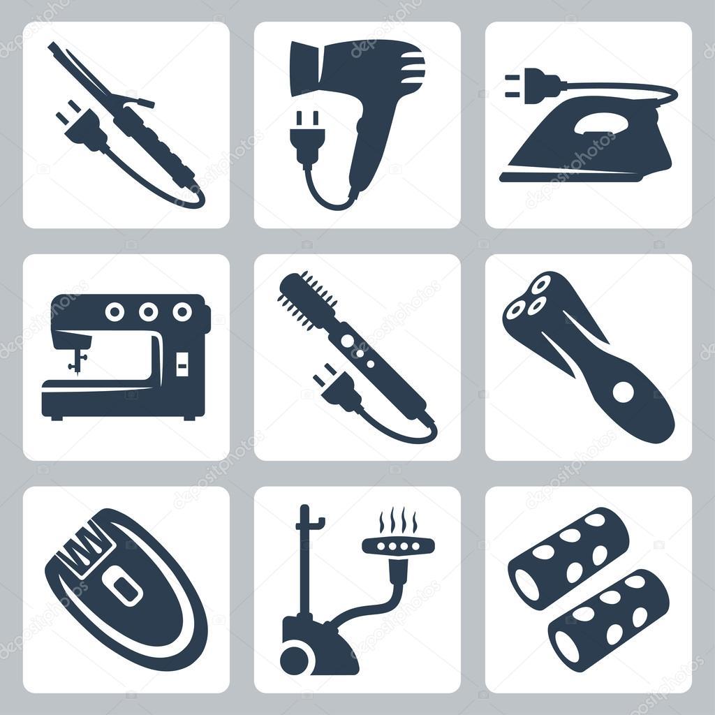 Vector belleza y aparatos de cuidado de la ropa: curling hierro ...
