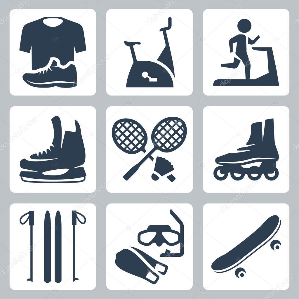 ce76cec74 vetor esportes conjunto de ícones de mercadorias  sportswear ...