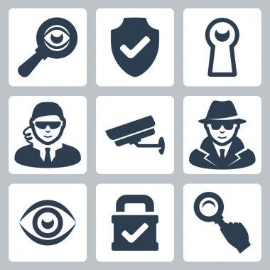 Vector spy and security icons set: magnifying glass, shield, heyhole, security man, surveillance camera, spy, eye, lock