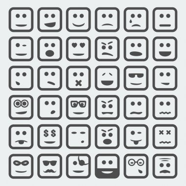 Vector cartoon square faces set