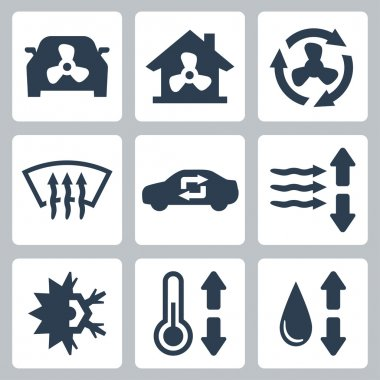 Vector air conditioning icons set clip art vector