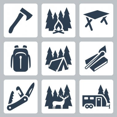 Vector camping icons set: axe, campfire, camping table, backpack, tent, matches, folding knife, deer, camping trailer