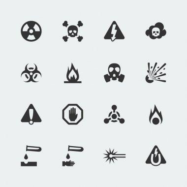 Vector hazard and danger mini icons set