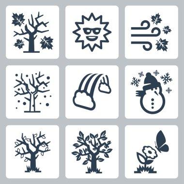Vector four seasons icons set