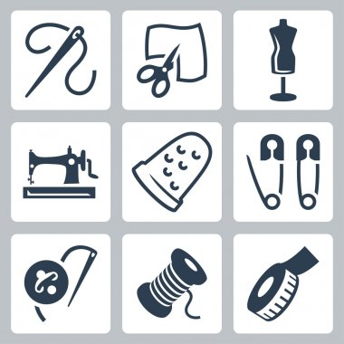 Vector tailor and sewing icons set