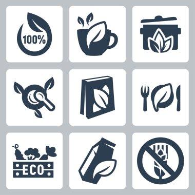 Vector organic food icons set