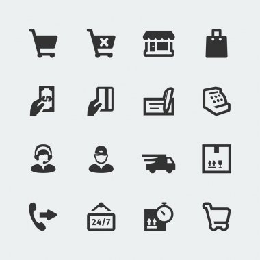 Vector shopping and e-store mini icons set
