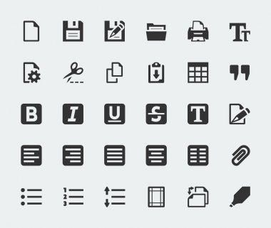 Vector text editor mini icons set