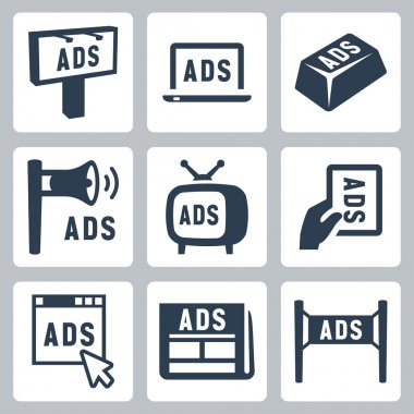 Isolated advertisment icons set stock vector