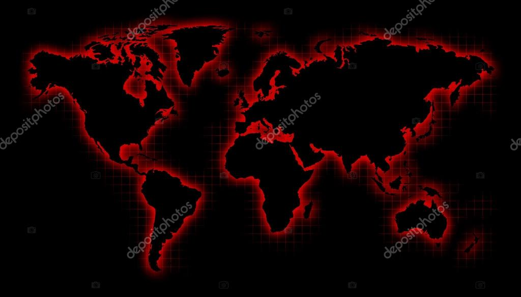 Black world map with red glow and grid stock photo rchvision black world map with red glow and grid photo by rchvision gumiabroncs Images