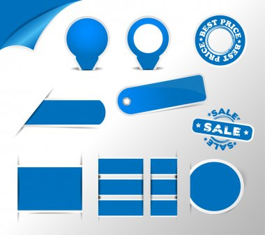 blue stickers, tags, labels collection
