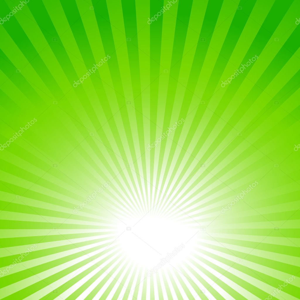 green background, sun rays