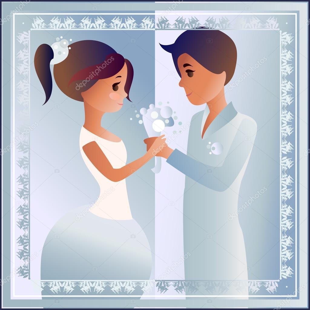 Karte Mit Liebe Paar Entwickelt Fur Die Hochzeitseinladung