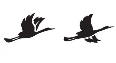 black silhouettes of flying birds - vector illustration