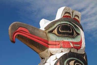Detail of totem pole in Alaska.