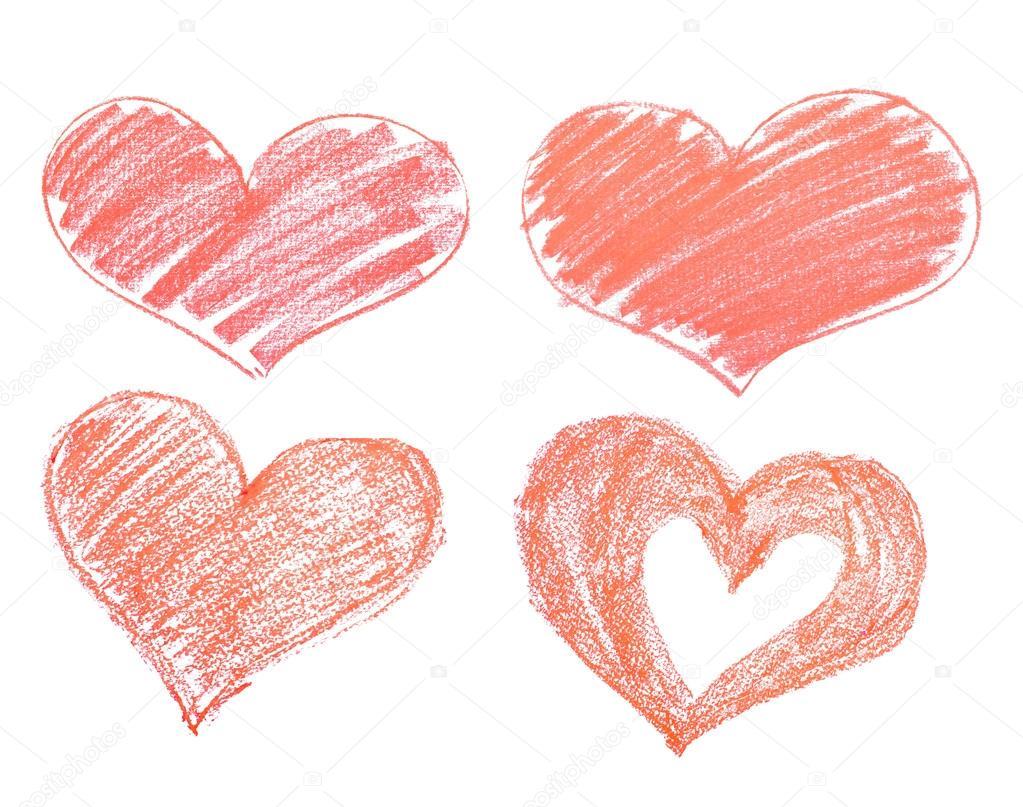 Lápiz De Corazón Dibujado A Mano, Aislado Sobre Fondo