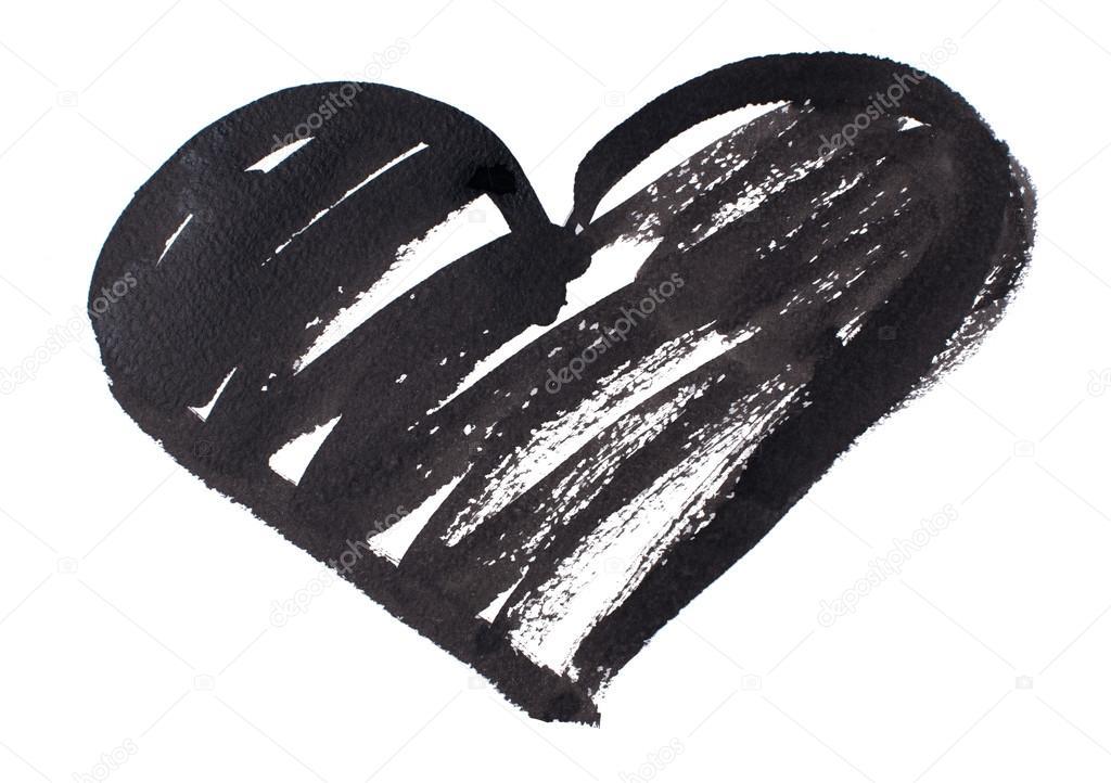 Disegnata A Penna Acquerello Cuore Nero Isolato Su Sfondo Bianco