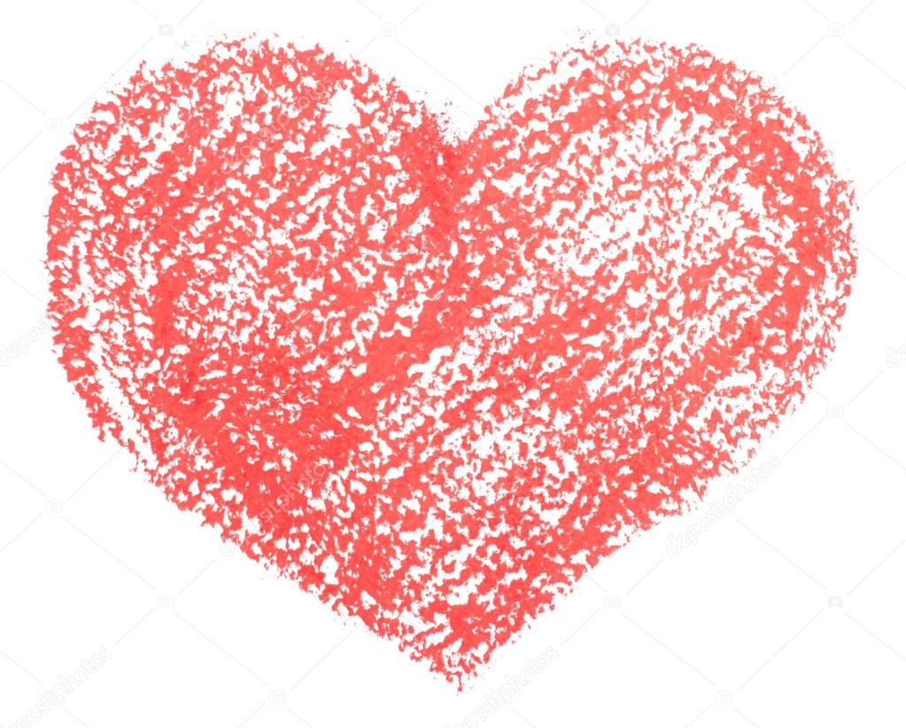 Rucne Kreslenou Tuzkou Srdce Izolovanych Na Bilem Pozadi Stock