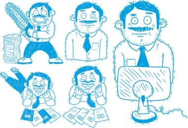 Office worker set of tasks