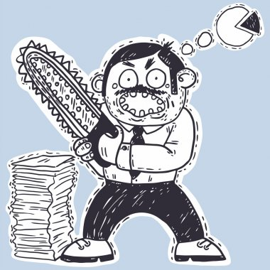 Office worker with chainsaw