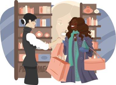 Black girl in a perfume shop
