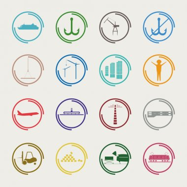 Industrial and logistic color icons
