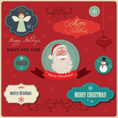 Christmas labels elements