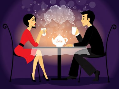 Dating couple scene, love confession vector illustration stock vector